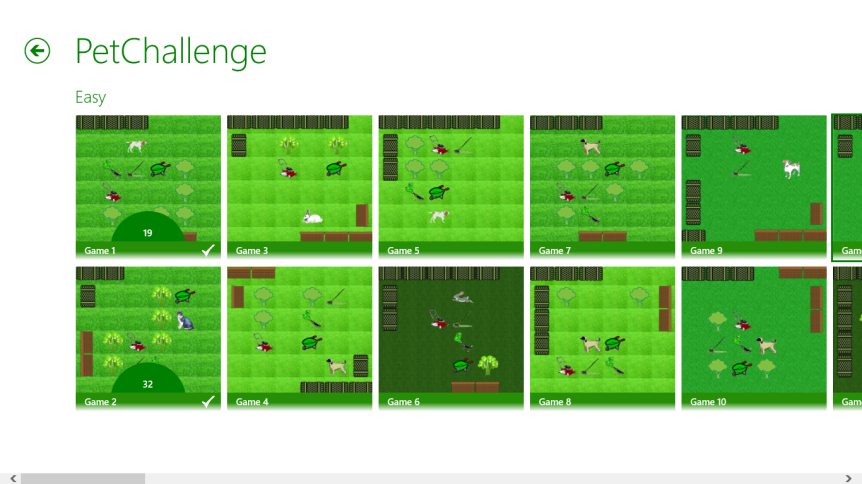 PetChallenge main menu