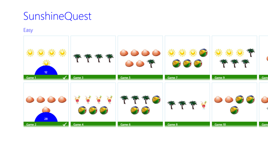 SunshineQuest main menu