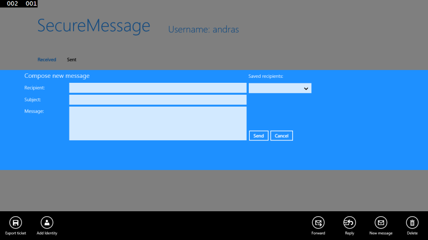 New message dialog