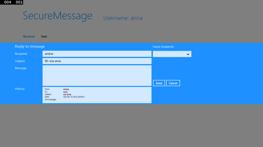 Reply to message dialog
